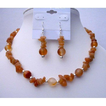 NS447 Carnelian Nugget w/ Silver Beads Spacer Necklace & Sterling Silver Earrings