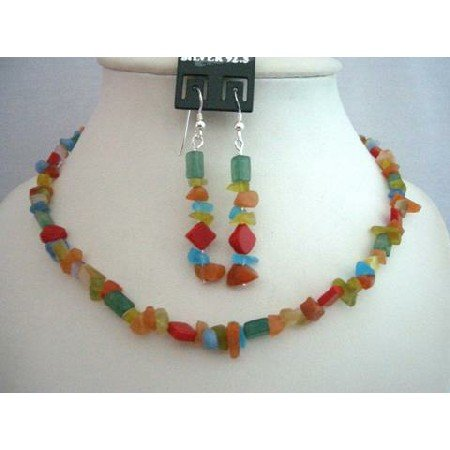 NS360  Handmade Necklace Sets Multi Colored Stone Nuggets And Stone Chip