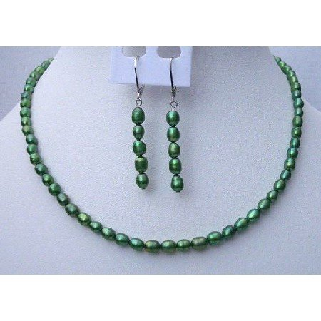 NS440  Rice Freshwater Pearls Jewelry Metallic Green Color Handmade Necklace & Fish Wire Earrings
