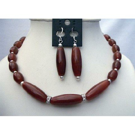 NS417 Carnelian Bead Necklace Set w/ Bali Silver Spacing & Sterling Silver Earrings