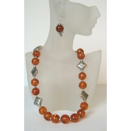 NS439  Handmade Ethni Amber Necklace With Sterling Silver Earrings & Bali Silver Spacing