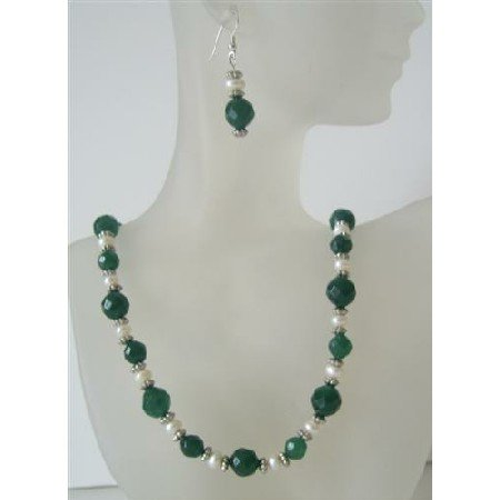 NS507  Multifaceted Jade Glass Bead Potato Freshwater Pearls Handcrafted Necklace Set