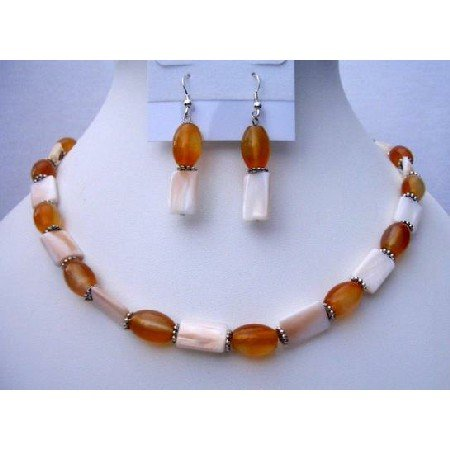 NS448  Mother Pearls Shell Jewelry w/ Carnelian Beads Daisy Spacing Necklace & Earrings