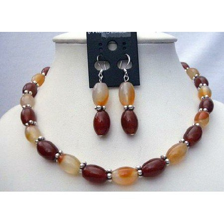 NS416 Carnelian & Focal Bead Necklace Set w/ Bali Silver Spacing & Sterling Silver Earrings