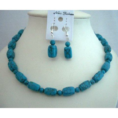 NS357  Custom Handcrafted Turquoise Jewelry Barrel & Round Turquoise Beads Necklace Set