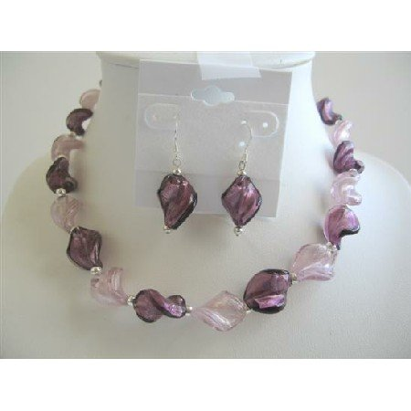 NS474  Red & Pink Enamel Jewelry Necklace & Earrings