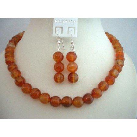 NS371  Genuine Carnelian Bead 9mm Custom Jewelry Necklace & Sterling Silver Earrings