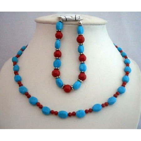 NS356  Handmade Flat Autumn Oval Turquoise & Coral Round Faceted Beads Necklace & Bracelet