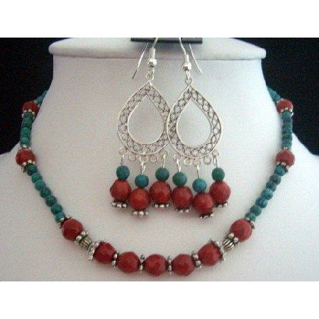NS207  Handcrafted Jewelry Set Genuine Faceted Coral Beads With Green Turquoise Beads