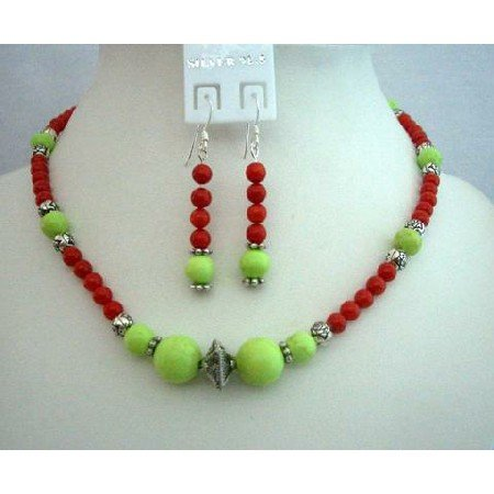 NS343 Genuine Coral Red Beads w/ Dyeld Lime Green Turquoise Beads Necklace Set