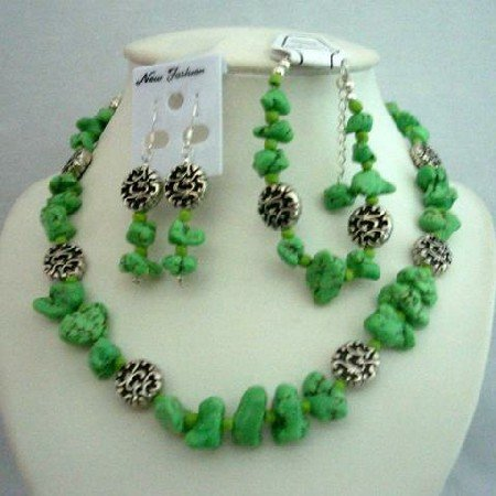 NS350 Stone Beads Dyed Lime Green Turquoise Beads & Bali Silver Necklace Earrings & BraceletSet