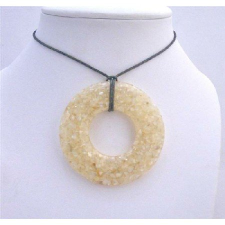 N470  Natural Shell Cream Pendant Laminated Shell Pendant Necklace Black Chord Necklace