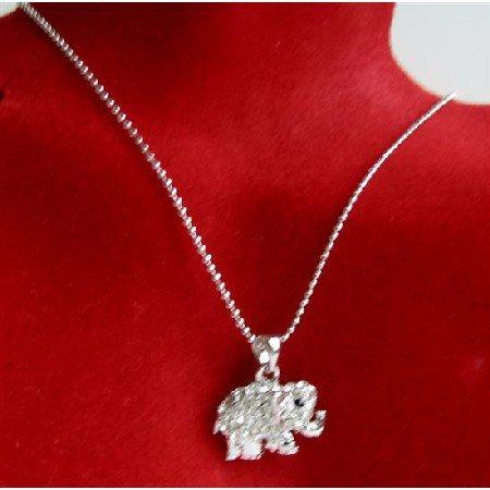 N711  Elephant Pendant Necklace Elephant Fully Embedded w/ Cubic Zircon & Black Eye Necklace