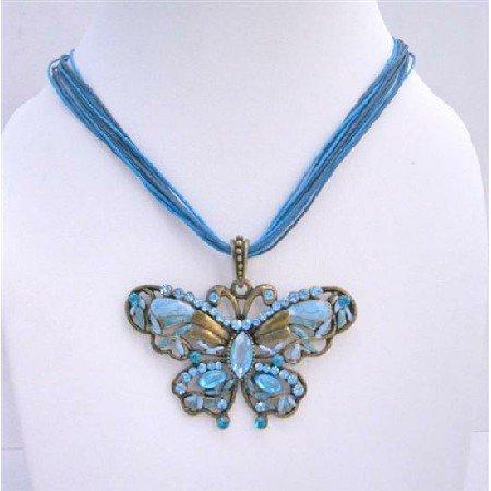 N087Aquamarine Pendant Multi String Necklace Aquamarine Crystals Butterfly Pendant Jewelry
