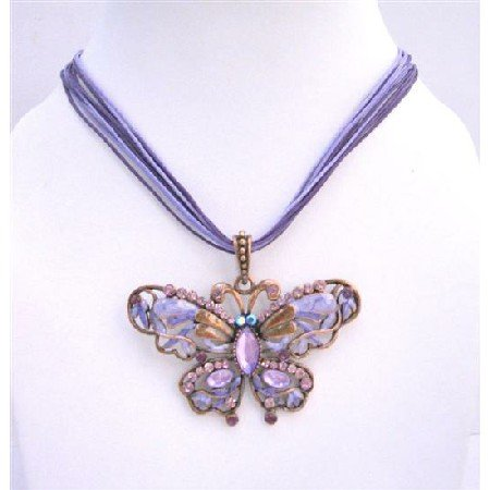 N385  Cool Soothing Delicate Purple Color Butterfly Necklace w/ Genuine Swarovski Crystals