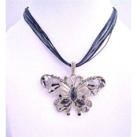 N088  Black Butterfly Mult String Necklace Crystals Butterfly Necklace Jewelry