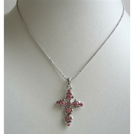 N713  Pink Cross Pendant Fully Embedded With Pink Cubic Zircon Striking Pendant Necklace