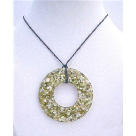 N431  Olive Round Shell Pendant Necklace Black Chord Necklace