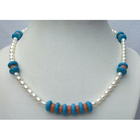 N412  Freshwater Pearls Turquoise Red Coral Bead Sterling Silver Necklace