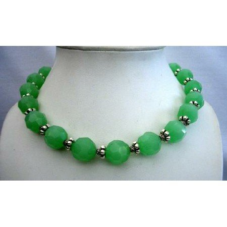 N407  Handcrafted Artisan Designed Genuine Multi Faceted Green Agate 18mm Bead