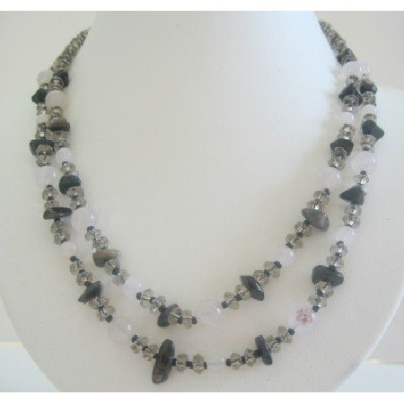 N499  Handmade White Opal Necklace w/ Smokey Quartz & Onyx Chips Sterling Silver Clasp Necklace