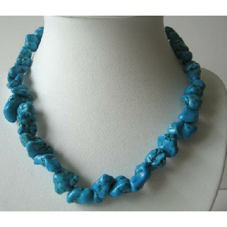 N430  Genuine Natural Turquoise Nugget Necklace