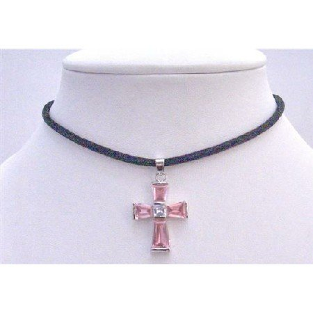 N562  Black Leather Cord Necklace w/ Pink Crystals Cross Pendant