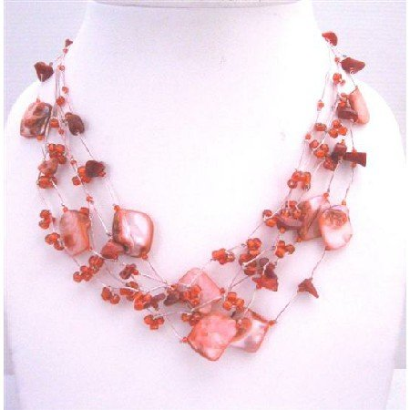 N106  Coral & Shell Multistring Necklace Red Beads Coral Shell Necklace