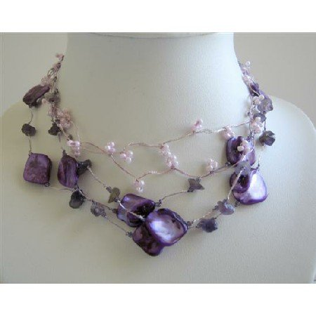N425  Amethyst Nugget Purple Shell & Beads Necklace Multi String Amethyst Tone Necklace