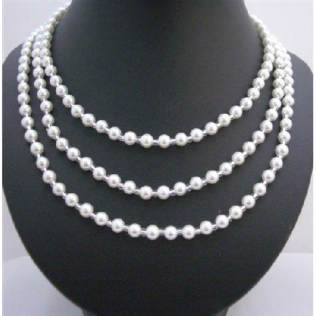 N516  White Faux Pearls Long Necklace w/ Glass Beads 58 Inches long Necklace