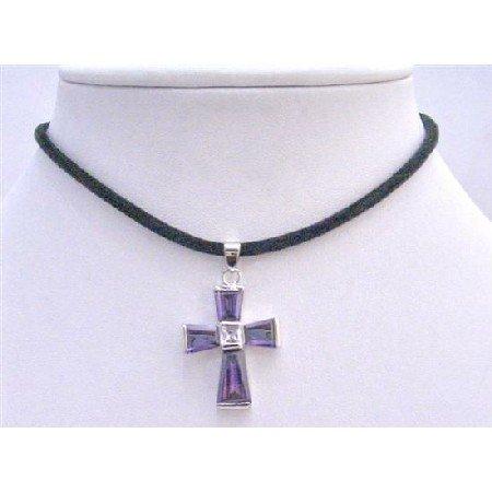 N361  Cross Jewelry Necklace Amethyst Cross Pendant Vintage Pendant