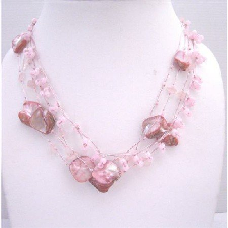 N081  Beautiful Pink Shell Rose Quartz Nuggets Necklace Multistring Pink Rose Quartz w/ shell