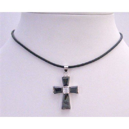 N269  Black Cross Pendant Leather Cord Necklace w/ Crstal Cross Pendant Necklace