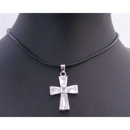 N428  Clear Crystals Cross Pendant Necklace Leather Cord Beautiful Cross Pendant