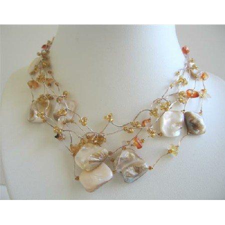 N564  Golden Beads Multi Shell In Multstrings Necklace