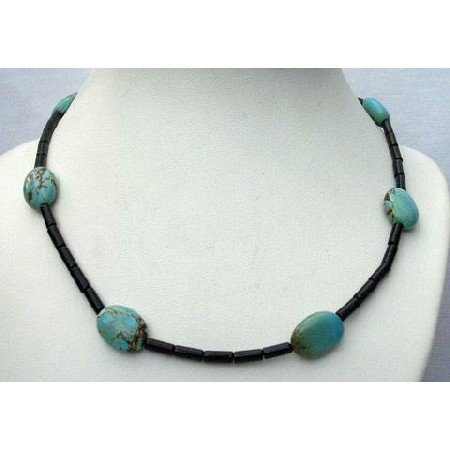 N408  Custom Jewelry Genuine Onyx Tube Beads w/ Genuine Flat Autumn Turquoise Bead Necklace