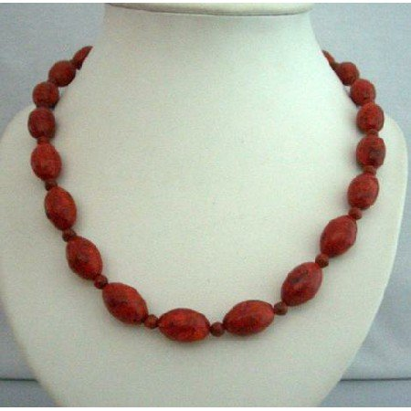 N365  Genuine Bamboo Coral Red Oval Beads Handcrafted Coral Beads Ethnic Necklace