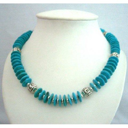 N364  Handcrafted Genuine Turquiose Rings Beads w/ Bali Silver Metal Necklace