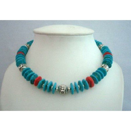 N363  Traditional Genuine Coral & Turquiose Rings Beads w/ Bali Silver Metal Handcrafted Necklace