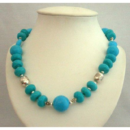 N357  Handcrafted Turquoise Jewelry Genuine Fine Turquoise Necklace w/ Bali Silver Spacing