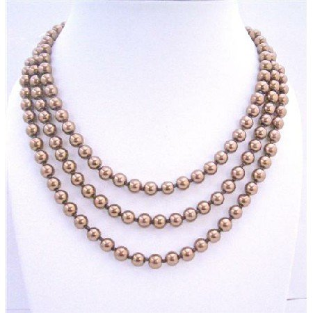 N312  Bridemaides Long Necklace Bronze Brown Necklace 56 Inches Long Necklace