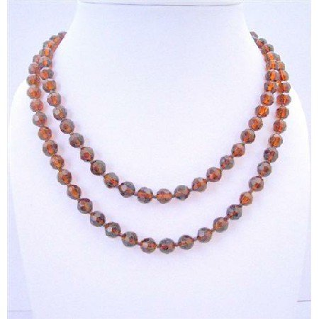 N314  50 Inches Long Necklace Dark Smoked Topaz Simulated Crystals Round Beads Necklaces