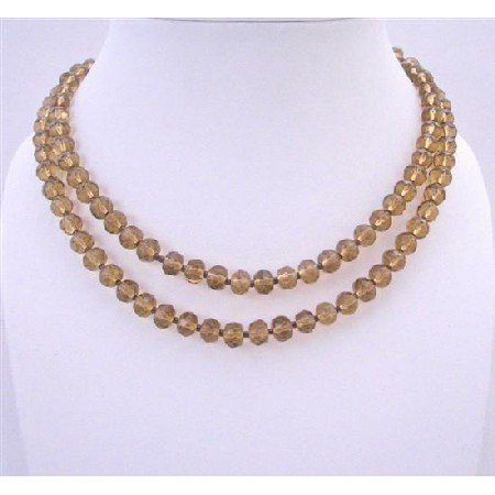 N248  Bridal Bridemaides Long Necklaces Simulated Crystals Round Beads Somked Topaz Crystals