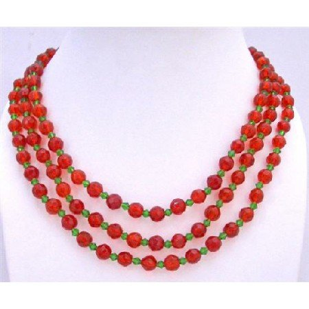 N102 Red Long Necklace Red Glass Beads w/ Simulated Green Crystals Long Necklace