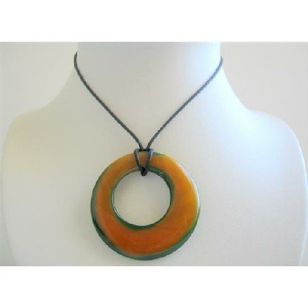 N105  Round Glass Pendant Necklace Double Shaded Round Glass Pendant Necklace