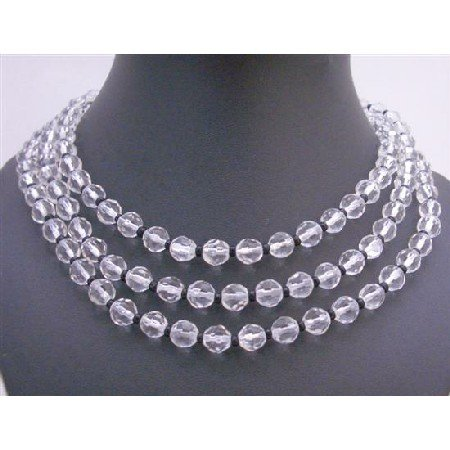 N247  Long Necklace 60 inches Simulated Glass Beads w/ Tiny Black Beads Spacer Necklace!!