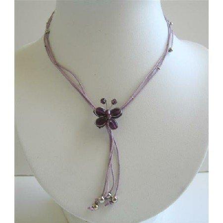 N421  Butterfly Necklace Purple Butterfly w/ Cute Tassel