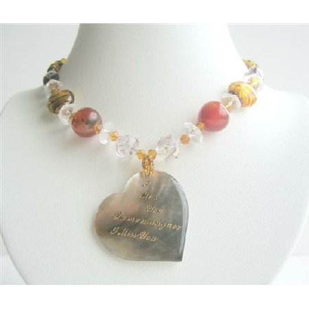 N577  Shell Heart Pendant w/ Words I Miss You In English & French Mutli Fancy Beaded Necklace