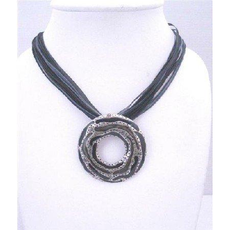 N276  Stylish Classy Black Multistranded Round Pendant Necklace w/ Black Diamond Rhinestones