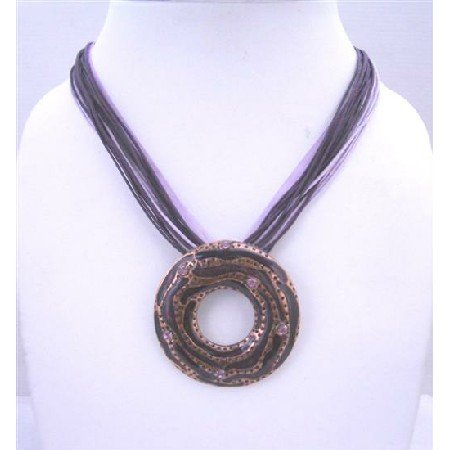 N466  Multistranded Purple Amethyst Necklace w/ Round Pendant